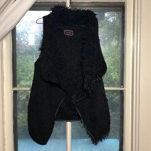Black Fur Lined Vest with pockets